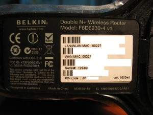 Label of Belkin F6D6230-4 v1, private information is removed